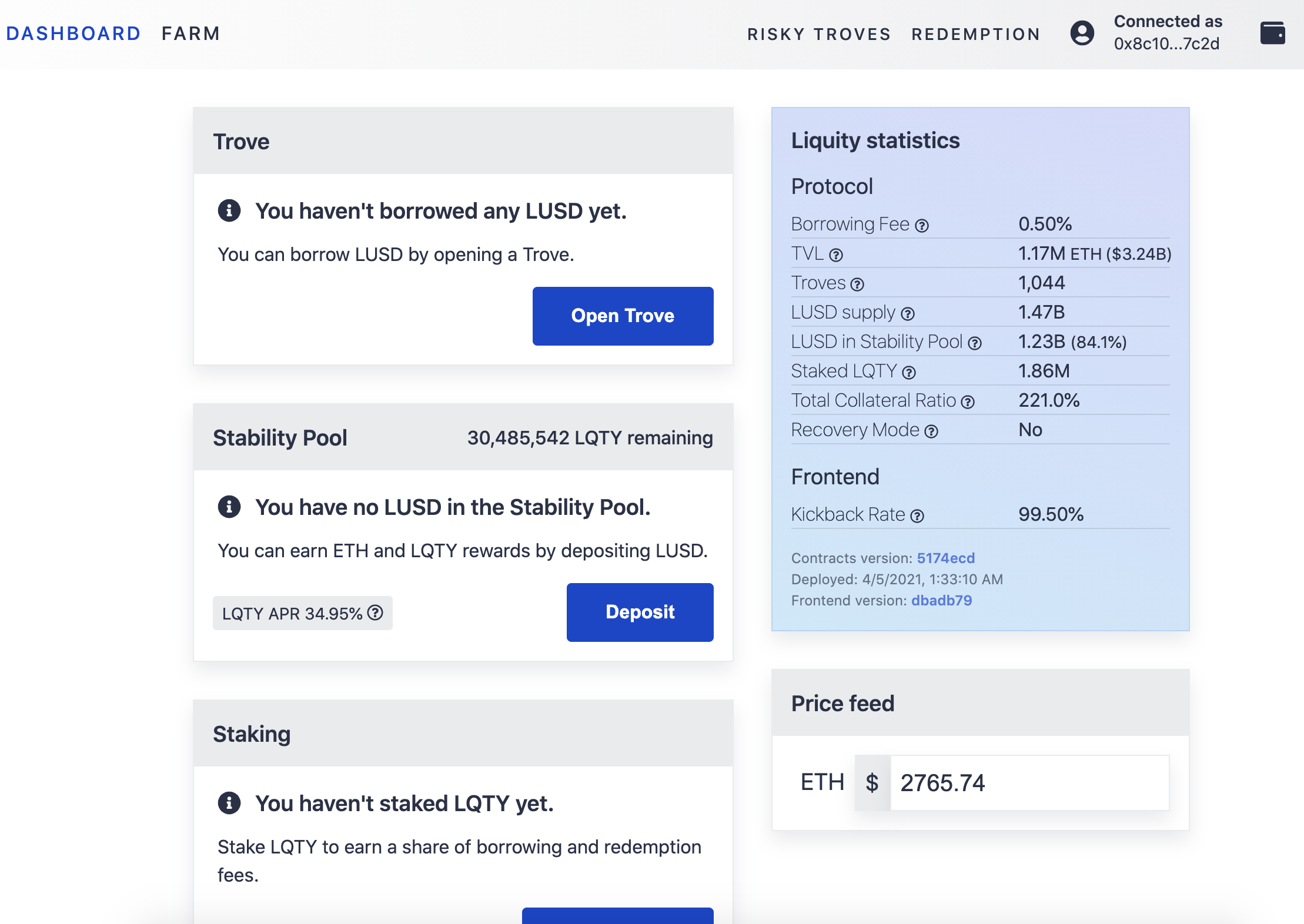 Liquity front-end dashboard